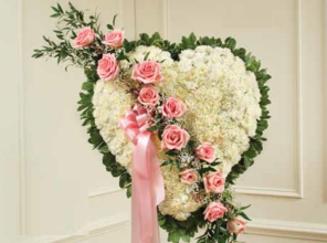 Medium Pink & White Closed Heart