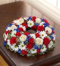 Small Red, White, & Blue Urn Arrangement